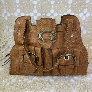 GUESS Boho Paisley Embossed Patent Tote Purse